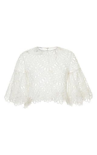 Medium oscar de la renta ivory crochet cropped jacket
