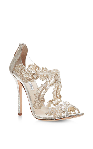 Medium oscar de la renta metallic ambria lace sandal