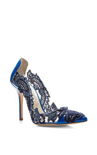 Medium oscar de la renta blue alyssa lace pump