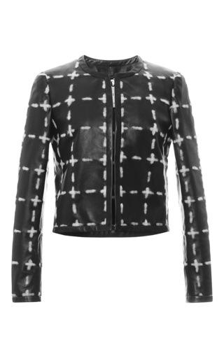Medium moschino black leather chalk collarless jacket