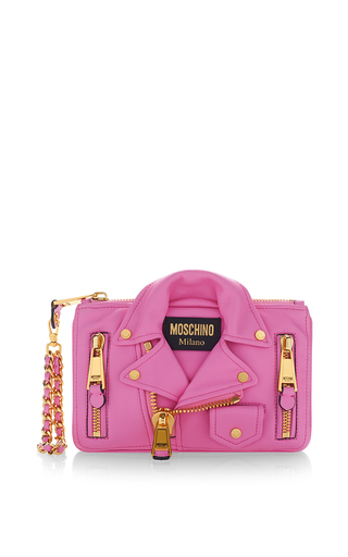 Medium moschino pink biker bag wristlet pink