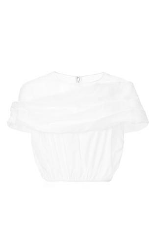Medium delpozo white cotton poplin draped crop blouse w yoke