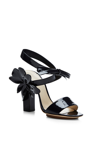 Dark Navy Patent Leather Flower Sandals by DELPOZO Now Available on Moda Operandi