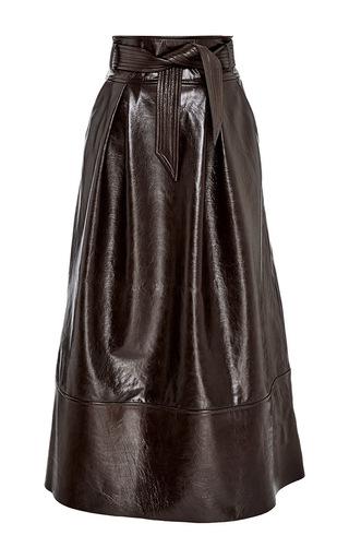 Medium martin grant brown lambskin a line long skirt