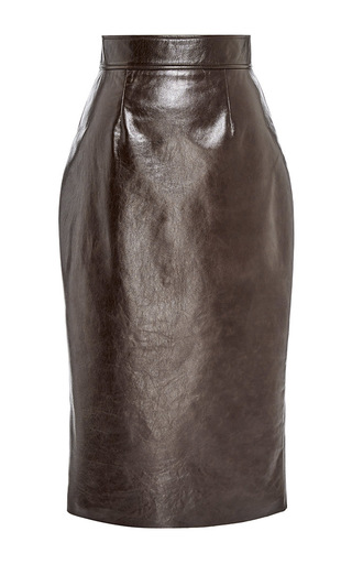 Medium martin grant brown leather pencil skirt