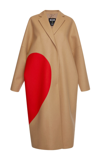Medium msgm brown heart intarsia camel wool felt coat