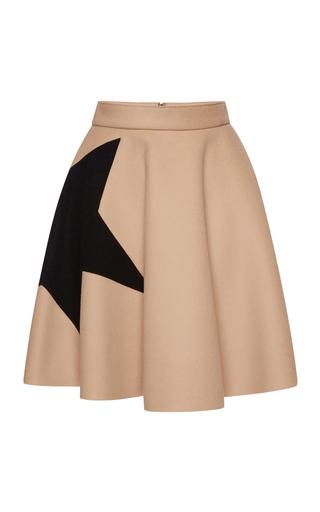 Medium msgm brown star intarsia wool felt circle skirt