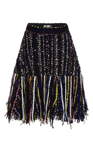 Medium msgm multi embellished tweed fringe skirt