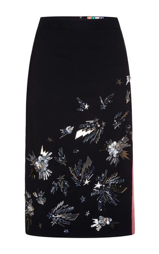 Medium msgm black embroidered crepe cady skirt