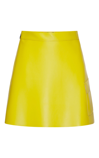 Medium msgm yellow eco leather cargo mini skirt