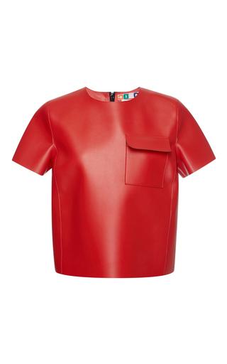 Medium msgm red eco leather t shirt