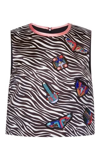 Embroidered Zebra Duchesse Top by MSGM Now Available on Moda Operandi
