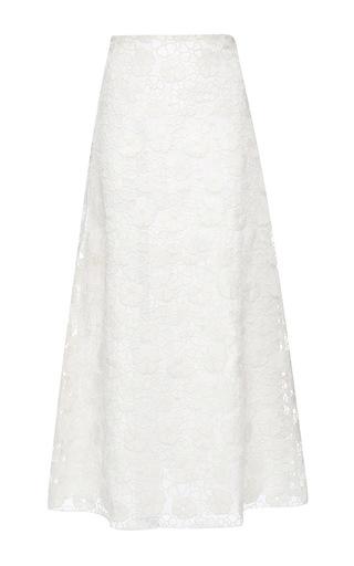 Medium giamba white floral wool and organza long skirt