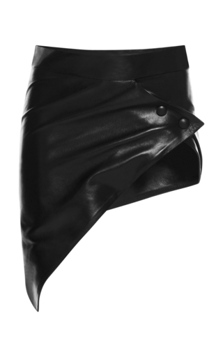 Medium anthony vaccarello black diagonale belted mini skirt