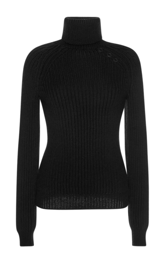 Medium anthony vaccarello black thick knit turtleneck sweater