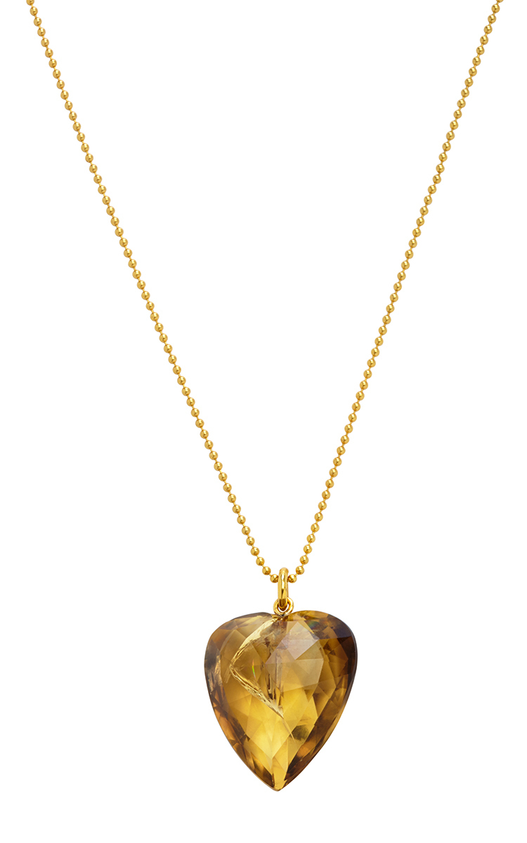 18k yellow gold antique citrine heart necklace by renee lewis moda loading mozeypictures Image collections