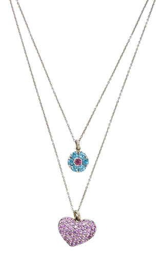 Medium renee lewis blue 18k white gold blue zircon round and pink sapphire heart necklace