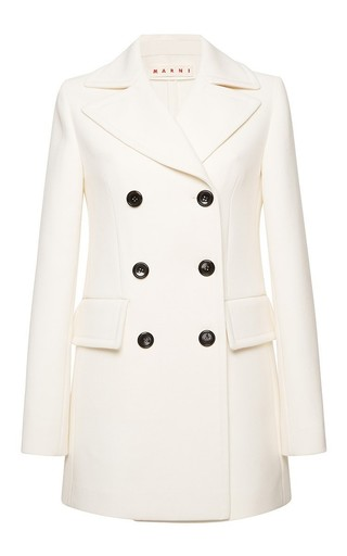 Medium marni white crepe wool peacoat