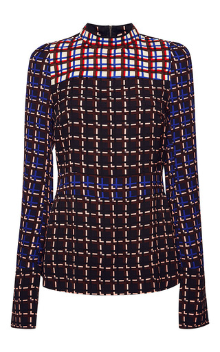 Medium marni print windowpane print long sleeve blouse