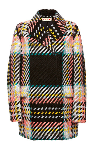 Medium marni print wool cotton tweed check coat