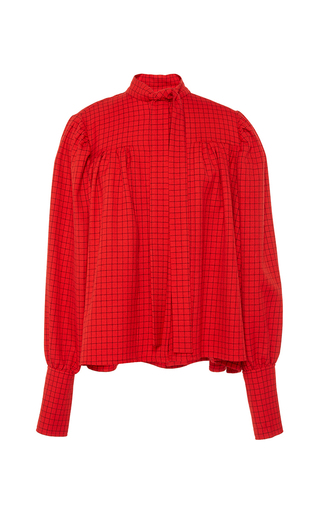 Medium j w anderson red check twill gathered blouse with neck tie