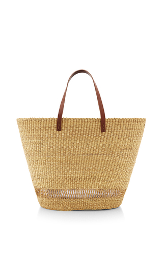Medium muun tan andree straw tote bag