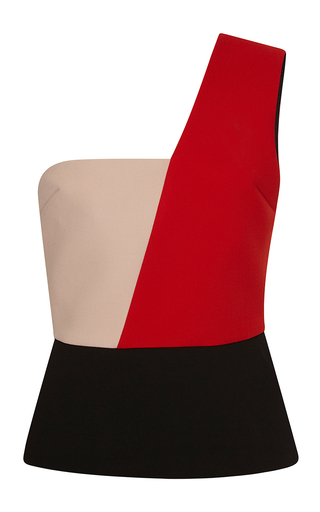 Medium fausto puglisi red one shoulder wool top