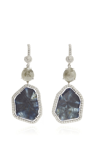 Medium nina runsdorf blue 18k white gold and blue sapphire earrings
