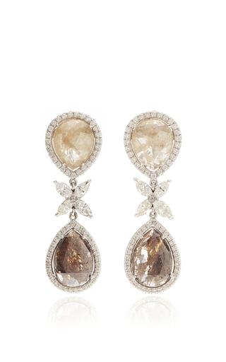 Medium nina runsdorf multi 18k white gold diamond earrings