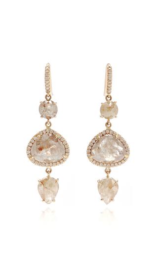 Medium nina runsdorf pink 18k pink gold organic diamond earrings