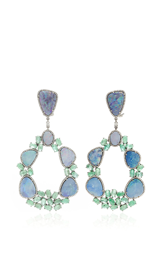 Medium nina runsdorf multi 18k white gold blue opal and emerald earrnigs