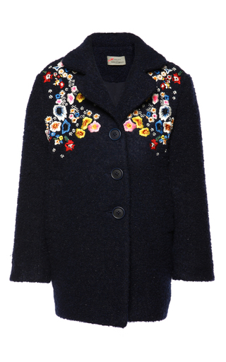 Medium preen blue embroidered bella coat 2y 4y 6y