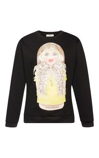 Medium natasha zinko black matryoshka printed sweatshirt
