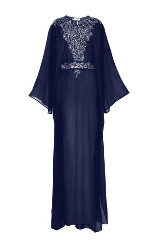 Medium oscar de la renta blue oscar de la renta navy embroidered georgette caftan with self sash