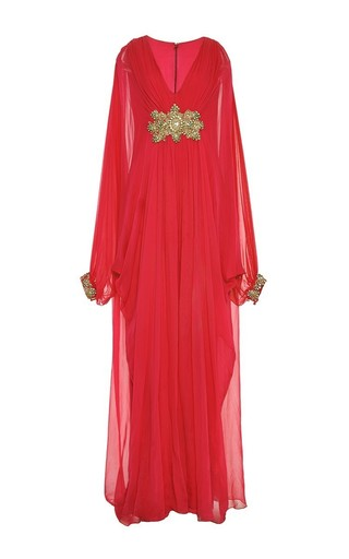 Medium marchesa red marchesa embroidered chiffon v neck caftan with sheer sleeves