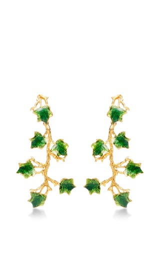 Medium madina visconti green the ivy earrings with enamel in 24k gold with green enamel