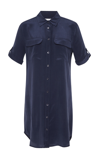 Medium equipment navy short sleeve slim signature dress