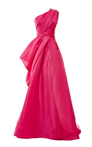 Medium monique lhuillier pink one shoulder draped ball gown with lace applique 2