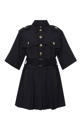 Medium marc jacobs navy pleated knee length military dress