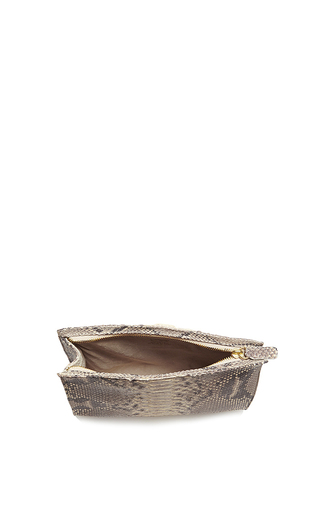 Natural Taupe Python Cosmetic Clutch by HUNTING SEASON Now Available on Moda Operandi