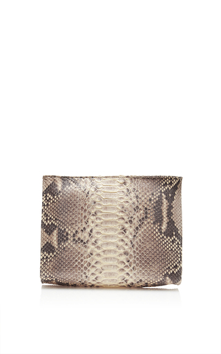 Medium hunting season brown natural taupe python cosmetic clutch