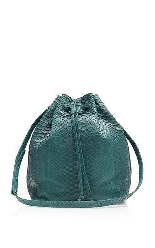Medium hunting season green emerald python large bucket bag