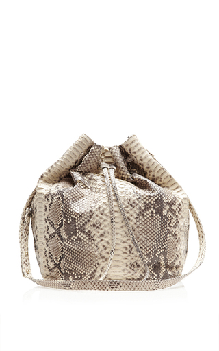 Medium hunting season brown taupe python large bucket bag