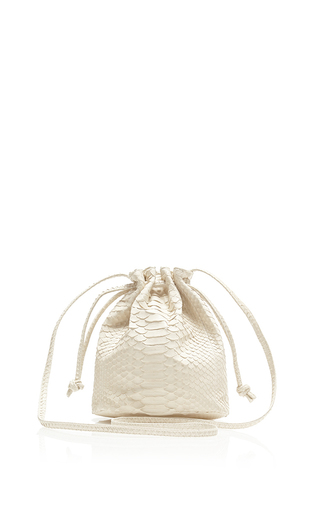 Medium hunting season white ivory python small bucket bag