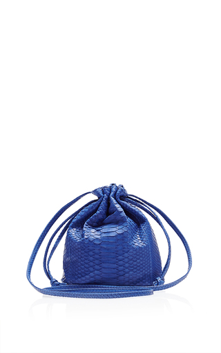 Medium hunting season blue blue python small bucket bag