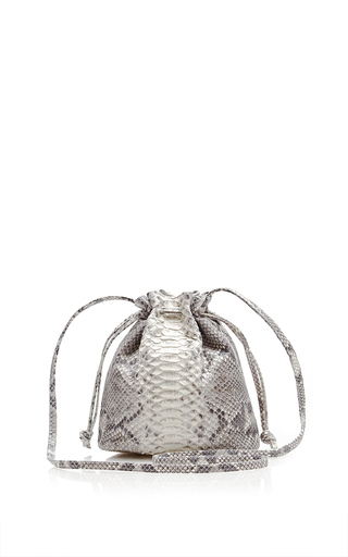 Medium hunting season brown natural grey python small bucket bag