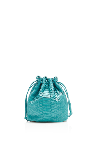 Turquoise Python Small Bucket Bag by HUNTING SEASON Now Available on Moda Operandi