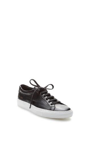 Medium common projects  2 black original lace up achilles white sole
