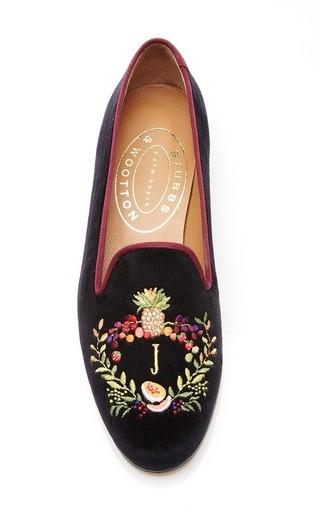 Medium stubbs wootton black mo exclusive happy menocal bespoke fruits crest slipper