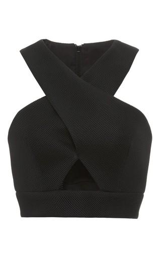 Medium nicholas black bandage tucked wrap crop in black